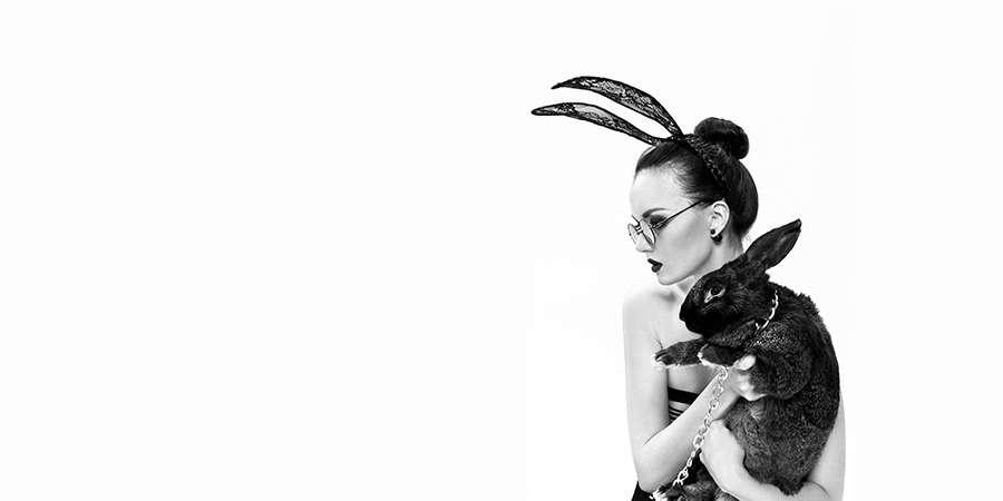 Girl Holding Black bunny wearing Sunglasses